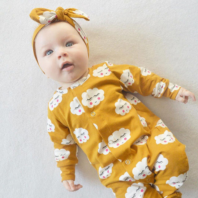 Yellow Happy Cloud Romper with Heaband 2pcs Outfit