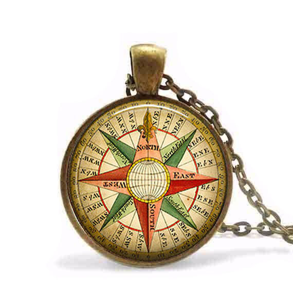 Antique Vintage Wind Rose Compass Pendant Necklace Jewelry Steampunk Mens Chain Women Fashion New Men Charm Toy Hot Selling Pendants Necklaces & Pendants