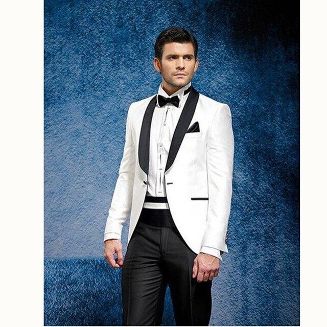 Gwenhwyfar White Jacket Black Pants Summer Suit Beach Wedding Best