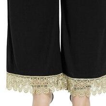 Plus Size 5XL Floral Lace Crochet Black Wide Leg Pants