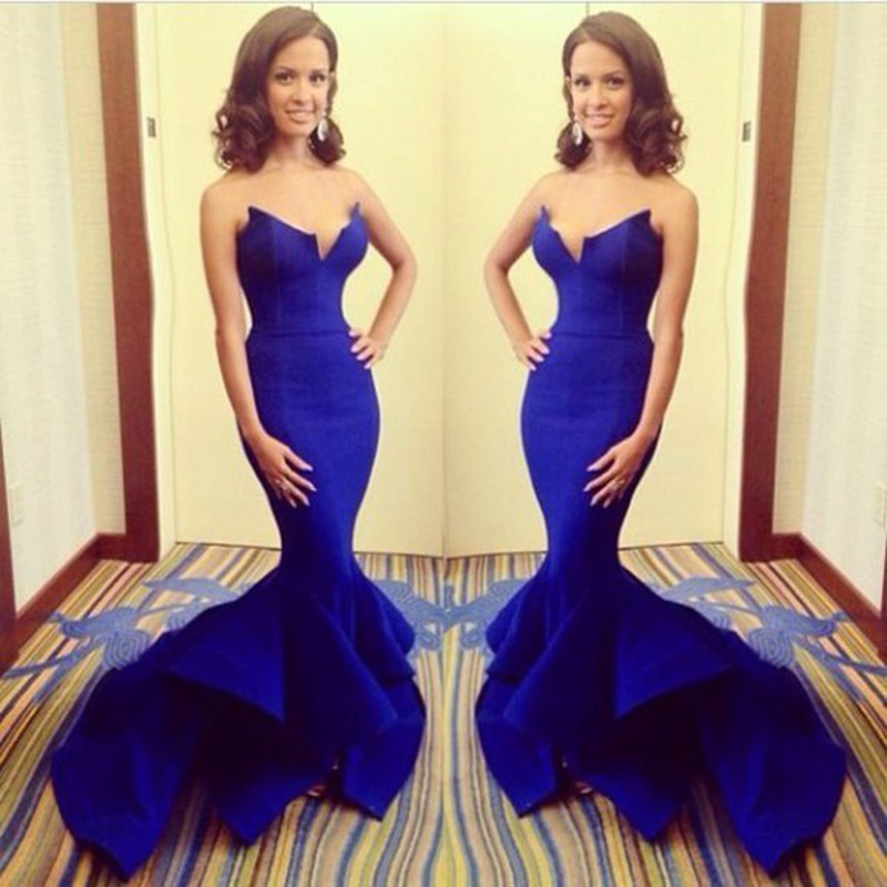 Sexy Royal Blue Sweetheart Mermaid Evening Dress Prom Gown Fishtail