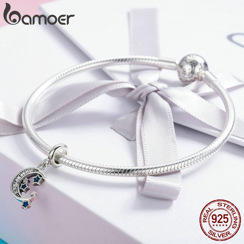 3d88ec40c3aa8 US $7.78 30% OFF|BAMOER Authentic 925 Sterling Silver Sparkling Sky Moon &  Star Clear CZ Dangle Charm fit Charm Bracelet Fine Jewelry Gift SCC639-in  ...