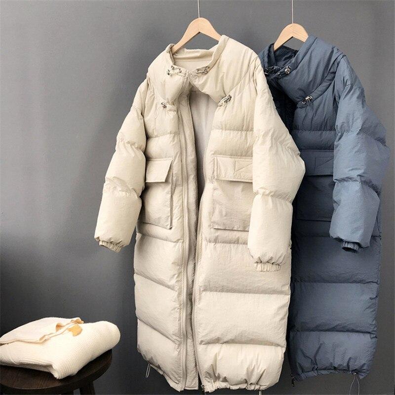 Montant Zippée Femmes Veste Manteau De Épais Col Long Mode 2018 Coréenne Poche bice orange Parkas Nouveau Beige 10636 Oceanlove Solides D'hiver Chaud qY45tx