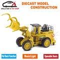 Diecast Florestal Loader Log Grapple Réplica, Trator escavadeira, Caterpillar Modelo Carros, meninos Brinquedos Com Funções/música/luz