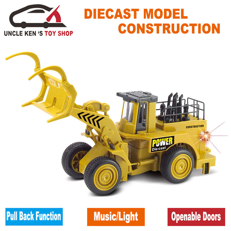 Diecast Forestry Log Loader Grapple Replica, Excavator Tractor, Caterpillar Model Cars, Functions / music / light ойыншықтарымен ойыншықтар