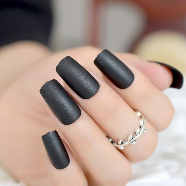 MATTE PRESS ON ACRYLIC NAILS Press on Nails Black Slim Size Medium ...