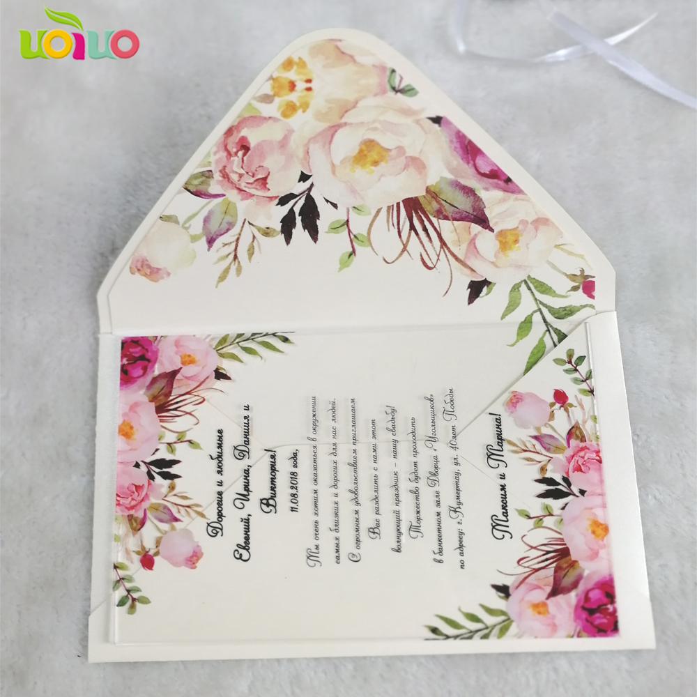 Us 19 5 Hot Latest Customized Printing Flora Wedding Invitation Card Designs Acrylic With Envelop In Cards