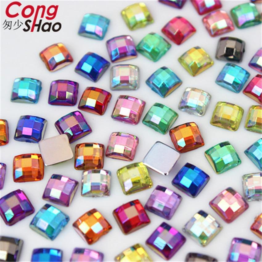 100pcs 5mm 3D Nail Art Square Stones flatback crystals Acrylic AB Rhinestone trim phone DIY not hotfix Face Decoration WC468