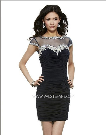 Free Shipping 2018 Black Short Vestidos Crystal Beaded Sexy Plus