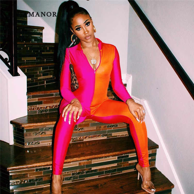 e83aa172e5cd Detail Feedback Questions about ANJAMANOR Neon Pink Color Block Front Zip  One Piece Bodycon Jumpsuits Women 2019 Long Sleeve Sexy Club Romper D64  AE47 on ...