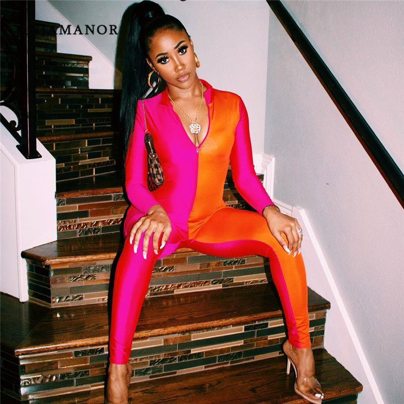 ANJAMANOR Neon Pink Color Block Front Zip One Piece Bodycon   Jumpsuits   Women 2019 Long Sleeve Sexy Club Romper D64-AE47
