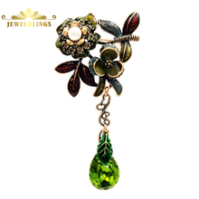 Fashion Vintage Enamel Crystal Flowers Green Teardrop Brooches Gold Tone Dragonfly Deco Red Leaf Green Flowers Pear Cut Drop Pin