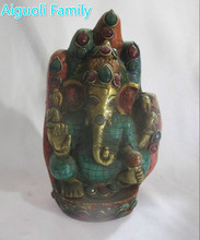 Collection Tibetan gilt imitation turquoise copper Buddha hand shape elephant god  statue/old Buddhism sculpture