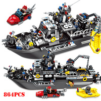 City SWAT Police Patrol Warship Truck Vehicle Building Blocks Compatible Legoings Military Bricks Educational Toys For Children