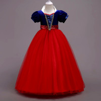 2018 Fancy Cute Snow White Princess Ball gown Dress Bow Girl Dress Halloween Cosplay Costume Birthday Party Dresses comunication