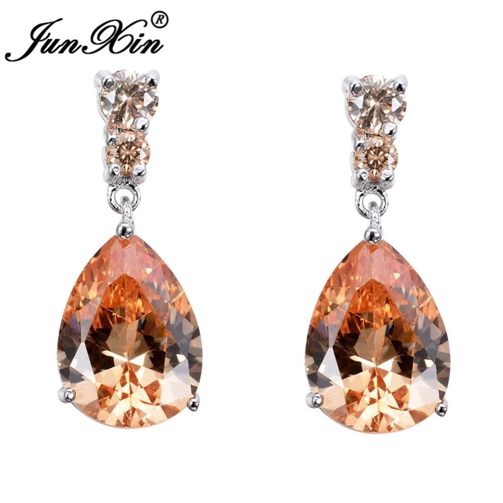 JUNXIN Female Multicolor Water Drop Zircon Wedding Rings For Women Silver Color Purple Pink Blue Teardrop Earrings