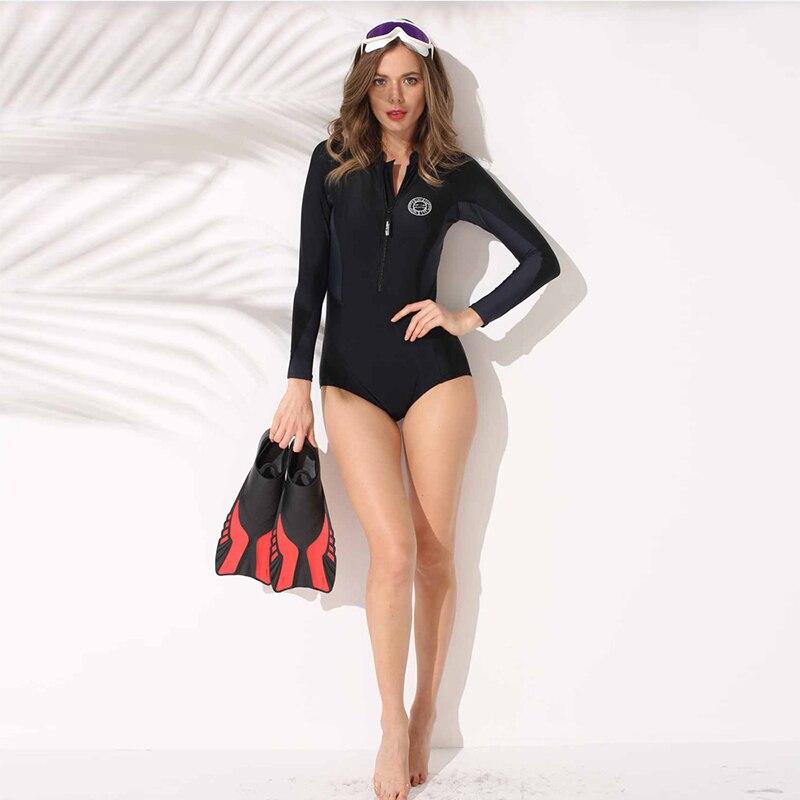 Maillot de bain Une Pièce 2018 Femmes Long Manches Patchwok Minceur Maillot de Bain Sport Maillot de Bain Plage Surf Femme PH1012901