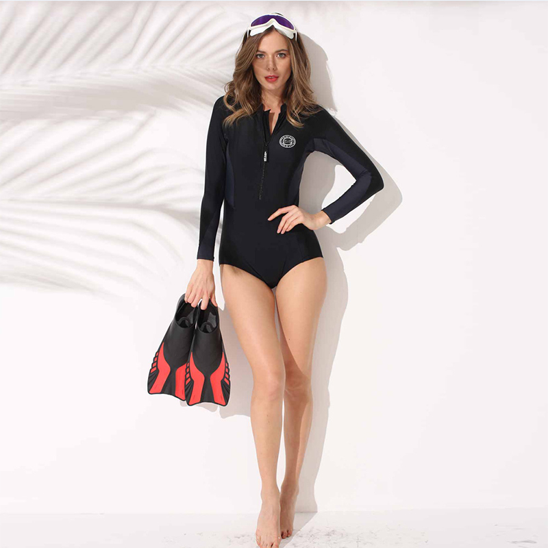 Swimsuit One Piece 2018 Women Long Sleeve Patchwok Slimming Swimsuit Sports Swimsuit Beach Surfing Female PH1012901 half sleeve holographic fabric plunging hooded swimsuit