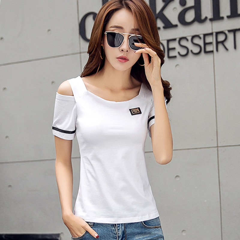 Korean Plus Size Off Shoulder Top Basic T Shirt Women Sexy Slim Tshirt Camisetas Mujer Verano 2018 Summer Top For Women T-Shirt