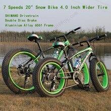 "20""* 4.0 Inch 10cm Widen Tire Bicicleta 7 Speed Terrain Bicicleta Snow Bicycle for Childen Fat Bike Bicicletas Mountain Bike 20"