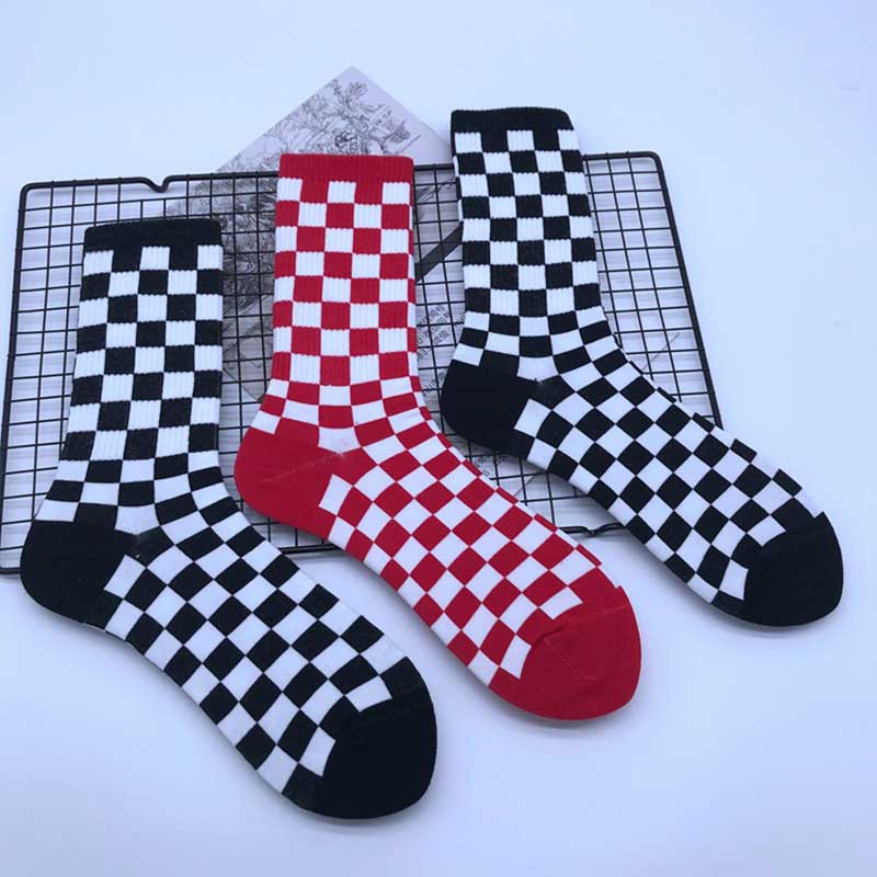 Autumn Winter Fashion Middle Tube Men Cotton Short   Sock   Women Lattice Short   Socks   Absorb Sweat Breathable Hosiery