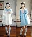 Kawaii Meninas Inverno Gola Marinheiro de Manga Comprida Vestido Solto Japão Uniforme Estilo Lolita Vestido de Espessura 2 Cores