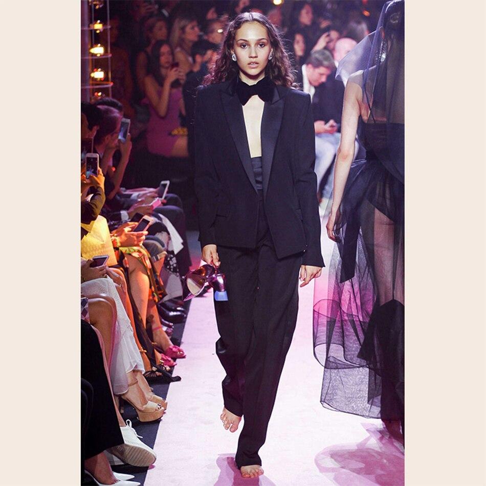 Femmes Deux Celebrity Noir D'été Col 2 Manteaux Et Noir Costume Pièces Pleine Ensemble V Ensembles À Sexy Pantalons pourpre Longues Longueur Date Manches Party qAtBn77