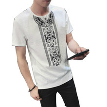 New Men Tshirt Print Fashion Short Sleeve Cotton Linen Simple Creative T-shirts Mens Arrival T-shirt Summer Style