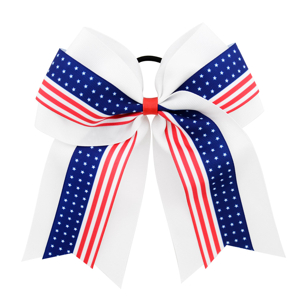 "7/"" America Flag Cheer Bow 4th of July Patriotic Girls Kids Cheerleader Hair Bow"