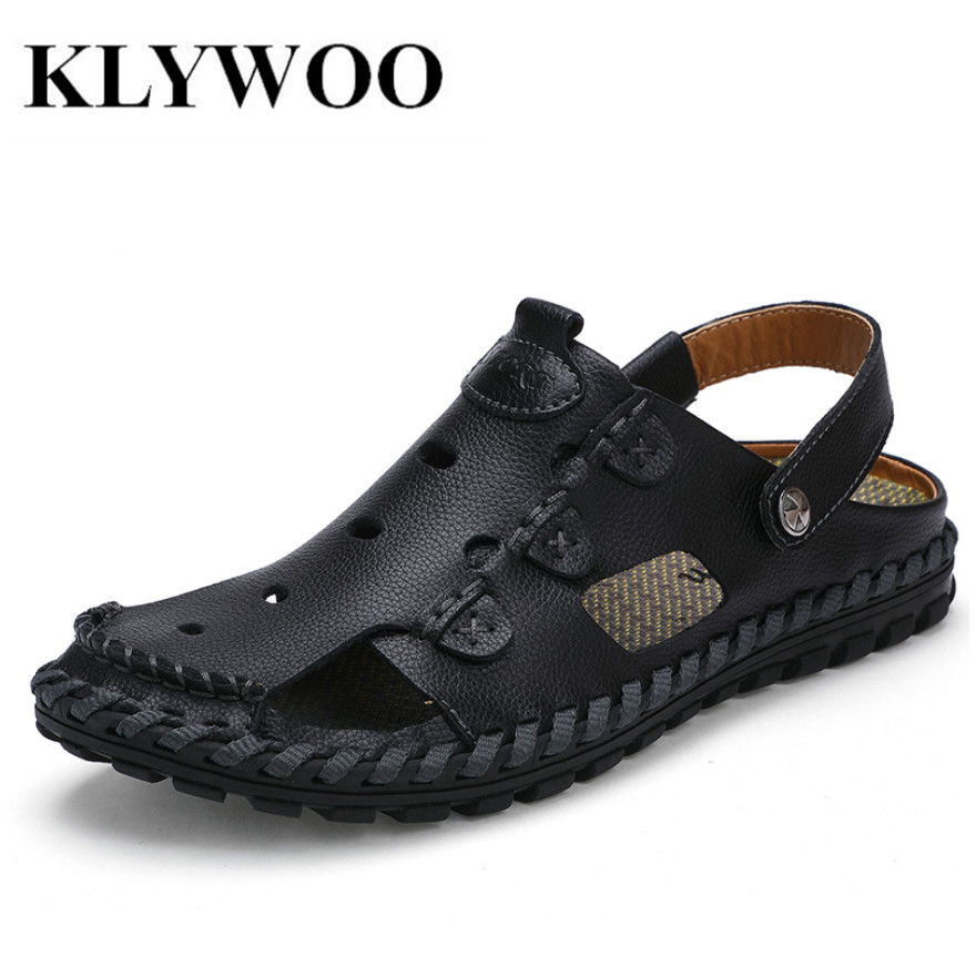 KLYWOO 2017 Summer New Men Sandals Genuine Leather Fashion Casual Shoes Slippers Breathable Beach Sandals Shoes For Men Sildes