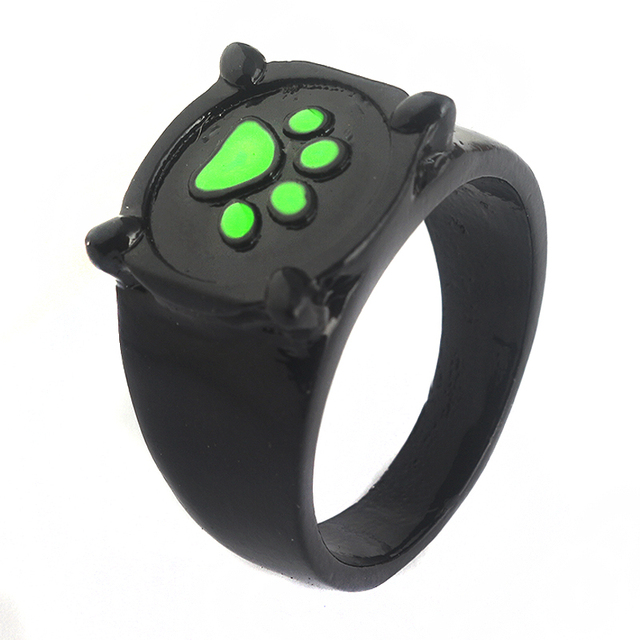 fdf6bad874 Cartoon Miraculous Ladybug Cat Noir Ring Men Women Green Cat Paw Print Ring  Party Jewelry Accessories