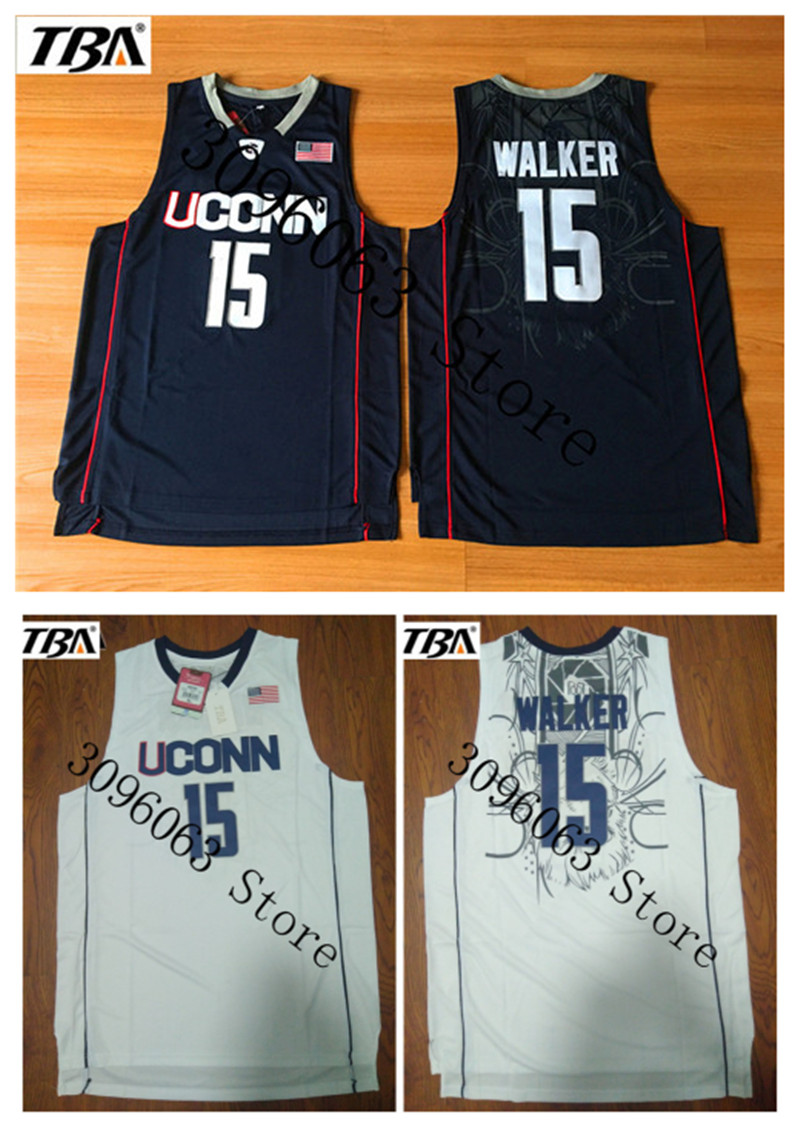 NEW 2017 New Uconn #15 Huskies Kemba Walker Home White Basketball Jersey For Men Embroidery Logos College basketball Jersey