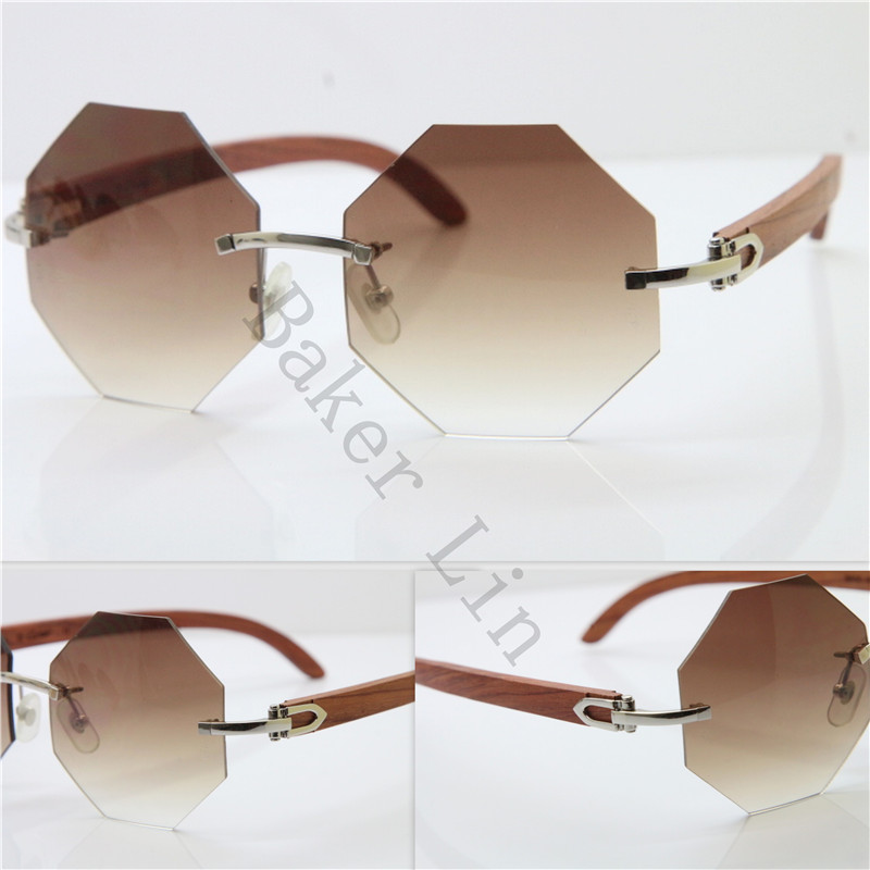 9886ddc6c47 ... Cartier 4189706 Rimless Wood Sunglasses in Gold Brown Lens ...