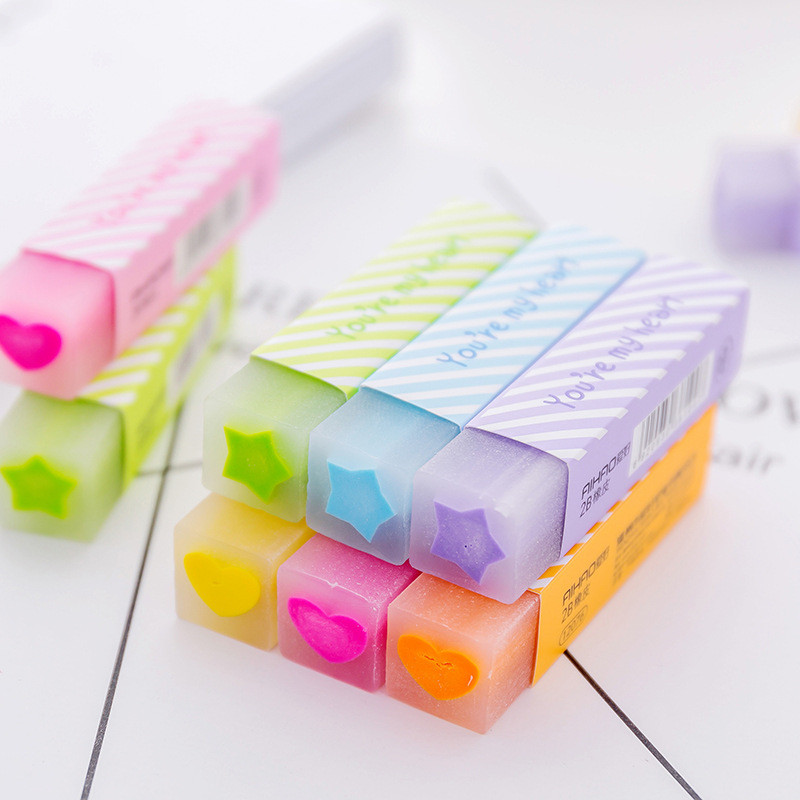 Coloffice 4PCs Office Creative Strip Love Shape Eraser Writing Drawing Painting Modification Primary School Students Supplies