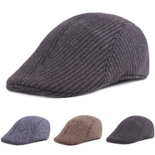 Men Striped Knitted Cotton Berets Driving Golf Cap Simple Ca