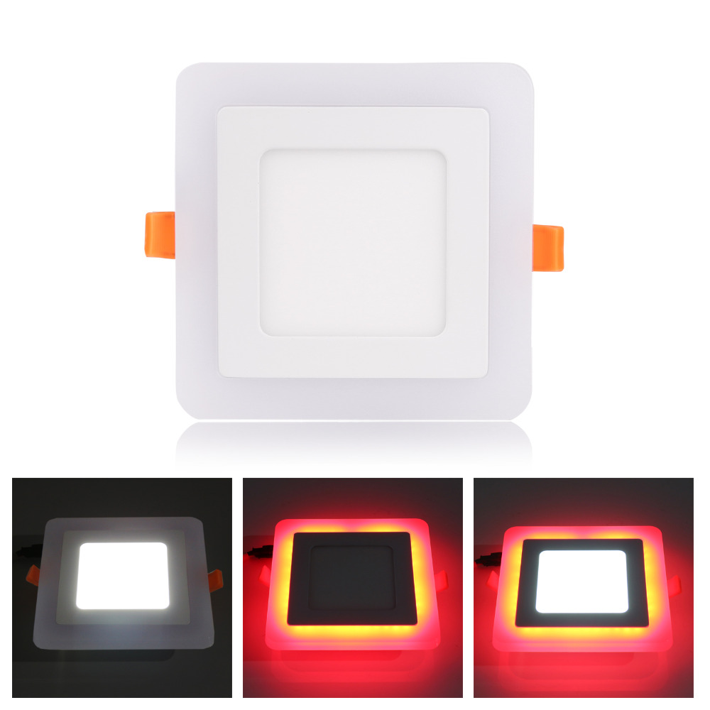 Super Bright Concealed/Surface 6W-24W RGB LED Ceiling Panel Light AC100-265V Colorful Downlight Bulb Lamp with Remote Control