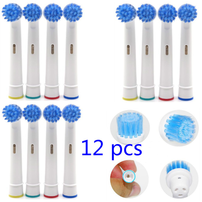 12pcs Battery Tooth Brush Heads Replacement for Oral B Dual Clean Complete Soft Bristles Toothbrushes Heads image