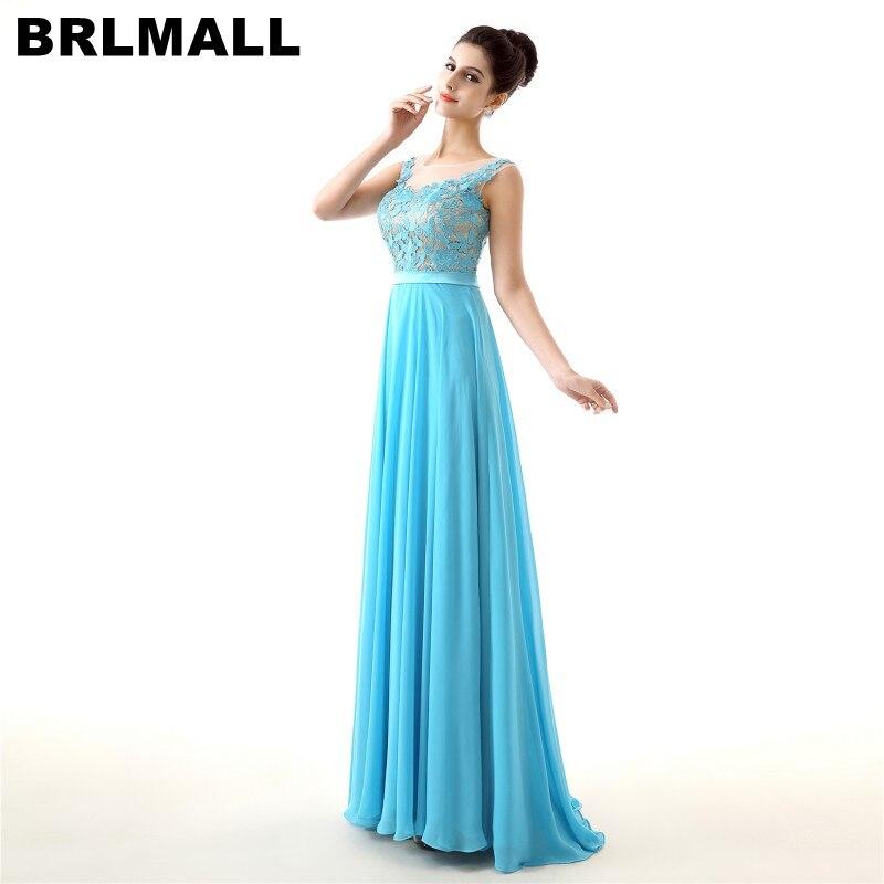BRLMALL haute qualité bleu dentelle Appliques robe De bal 2017 mousseline De soie a-ligne robe De soirée dos nu robe De soirée Vestido De Festa