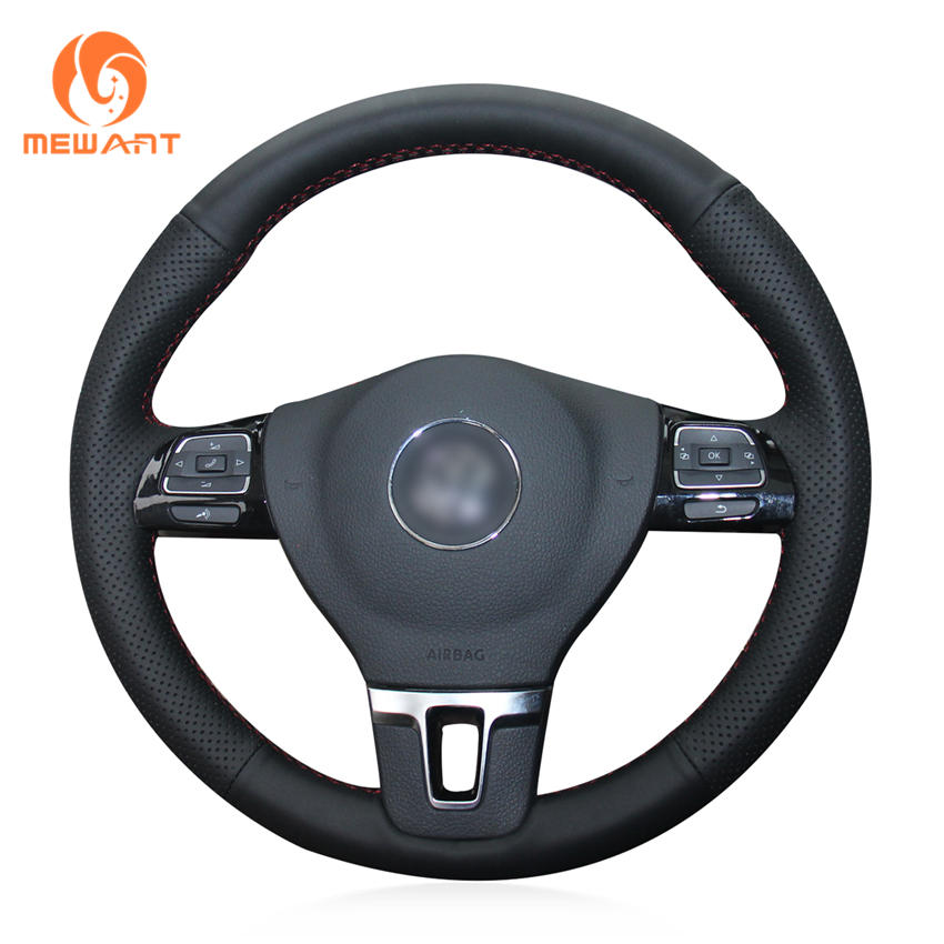 MEWANT Black Genuine Leather Car Steering Wheel Cover for Volkswagen VW Gol Tiguan Passat B7 Passat CC Touran Jetta Mk6 цена