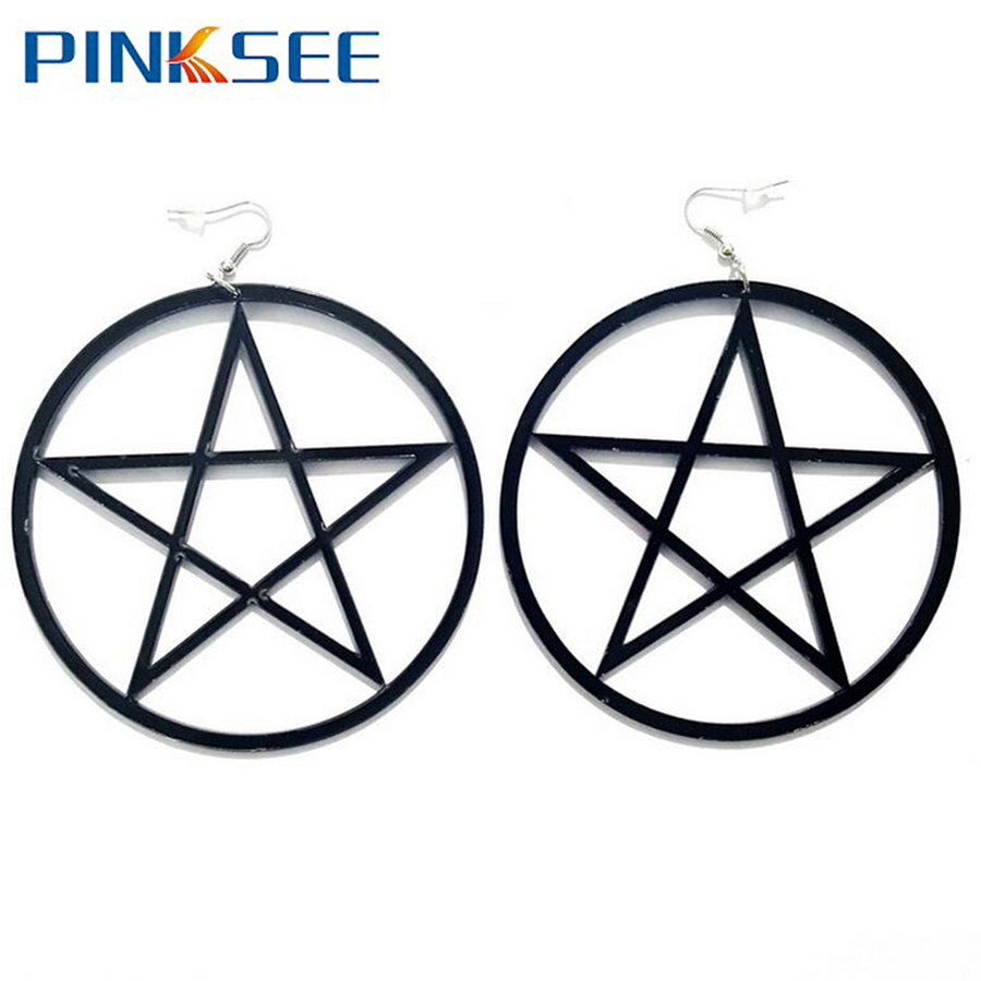 Punk Rock Large Star Earrings Gothic Women Big Pentagram Unique Design Fashion Europe Ear Jewelry Black White Color Free Ship
