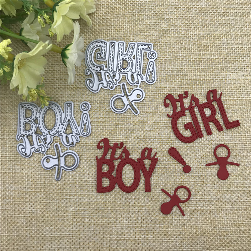 Baby Boy And Baby GIRL Metal Cutting Dies Frame Craft Cutting Die Embossing Stencil For Handmade Paper Card Making Scrapbooking