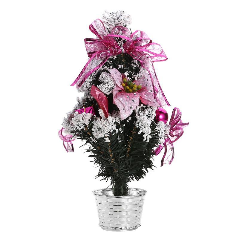 brillo de pino de navidad rbol con flores rbol blanco de nieve artificial para la decoracin