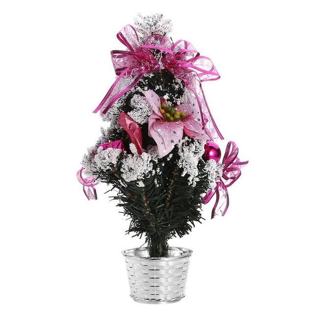 Navidad brillo árbol de pino con flor blanco de nieve artificial árbol para  Navidad Decoración 57dc890747f