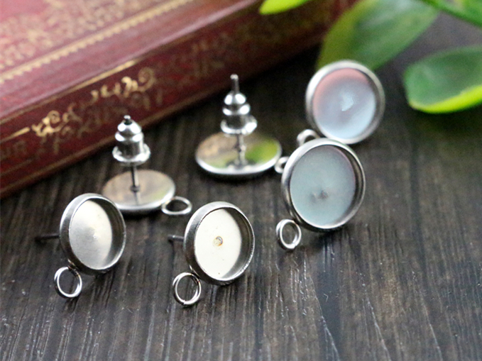 ( Never Fade ) 8mm And 10mm 20pcs/lot  Stainless Steel Earring Studs,Earrings Blank/Base,Fit 8mm And 10mm Glass Cabochons