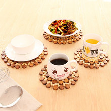 1pcs Round Hollow Bamboo Insulation Pad Thickened Tableware Mat Table Mat Bamboo Mat Kitchen Tableware