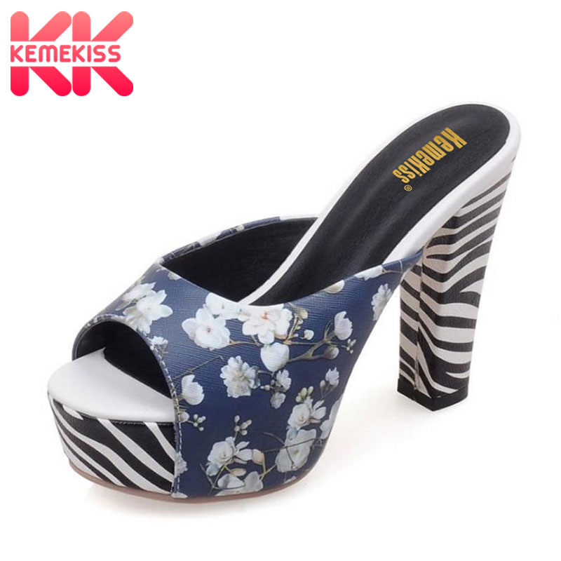 KemeKiss sexy high heels shoes women open toe party woman fashion zebra stripes shoes heeled pumps shoes size 32-42 PC00041