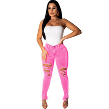 Women Neon Color High Waisted Ripped Jeans Sexy Skinny Pencil Pants Hole Streetwear Denim Jeans Stretch Jean Trousers Plus Size цена