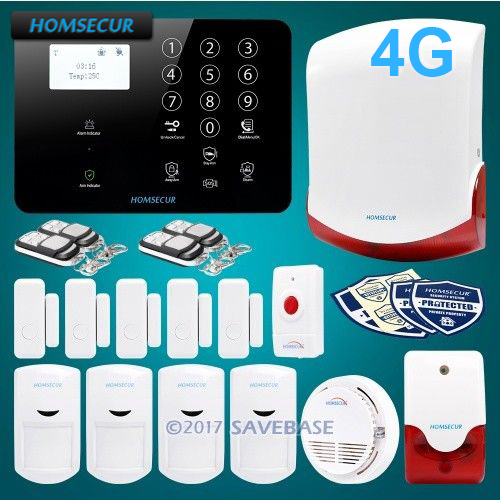 HOMSECUR Wireless&wired 4G/GSM LCD Burglar Alarm System with 4 Pet-Immune PIR+Panic Button homsecur app controlled wireless gsm lcd rfid burglar alarm system with 4 pet immune pir 5 door sensor