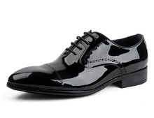 Cool Black derby shoes mens business shoes patent leather mens wedding shoes formal dress shoes for work