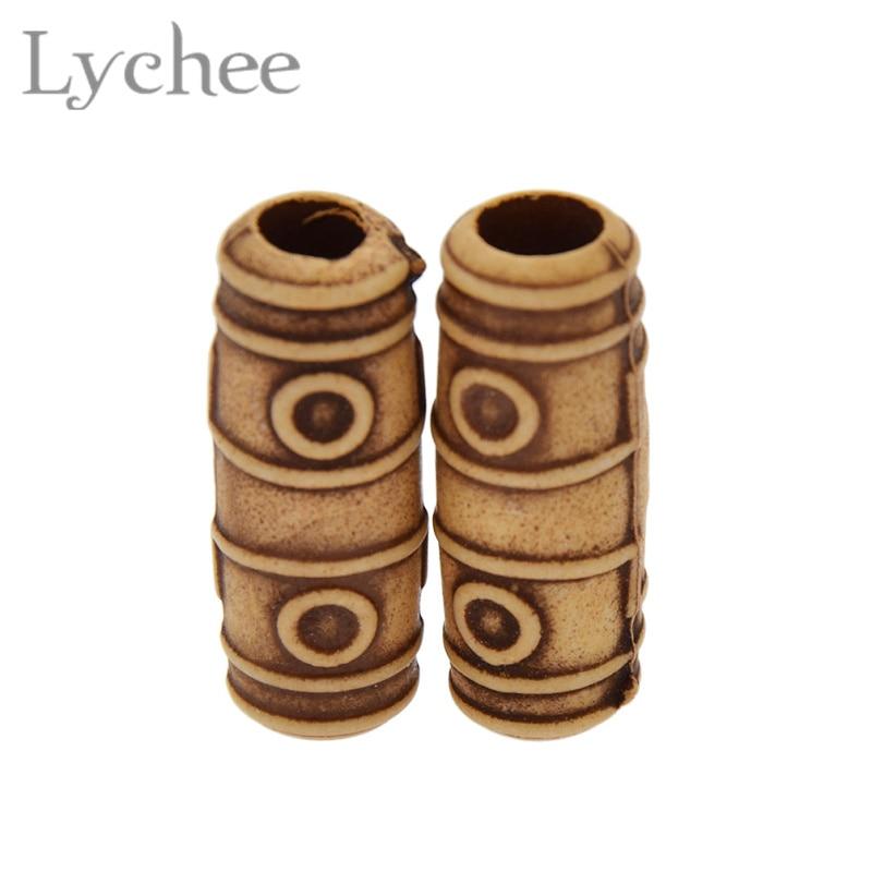 Lychee 10pcs/lot 6mm Vintage Wood Hair Braid Dread Dreadlock Beads Cuffs Clips Headwear Accessories